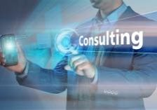 Business concept. Businessman holding smatrfon and click on the virtual display with text consulting