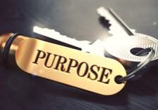 Purpose - Bunch of Keys with Text on Golden Keychain. Black Wooden Background. Closeup View with Selective Focus. 3D Illustration. Toned Image.